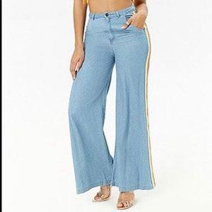 Forever 21 rainbow wide leg lightweight jeans SZ S